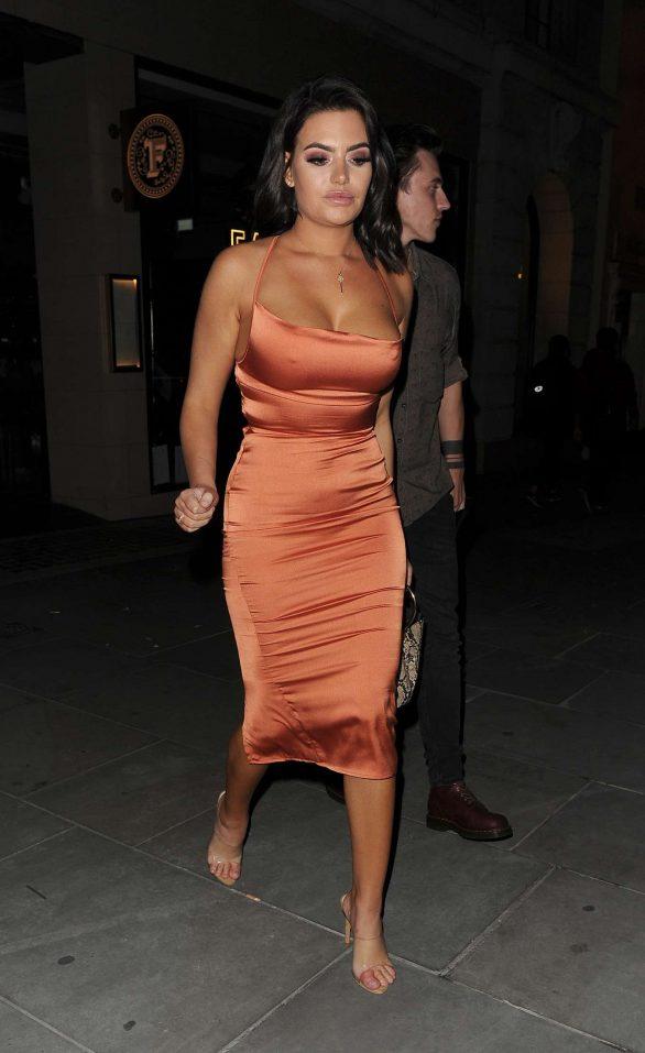 Megan Barton Hanson in Orange Dress - Leaving a restaurant in Mayfair