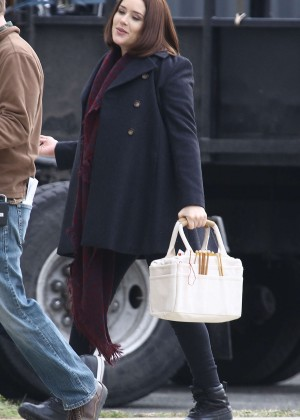 Megan Boone on the set of 'The Blacklist' in Yonkers