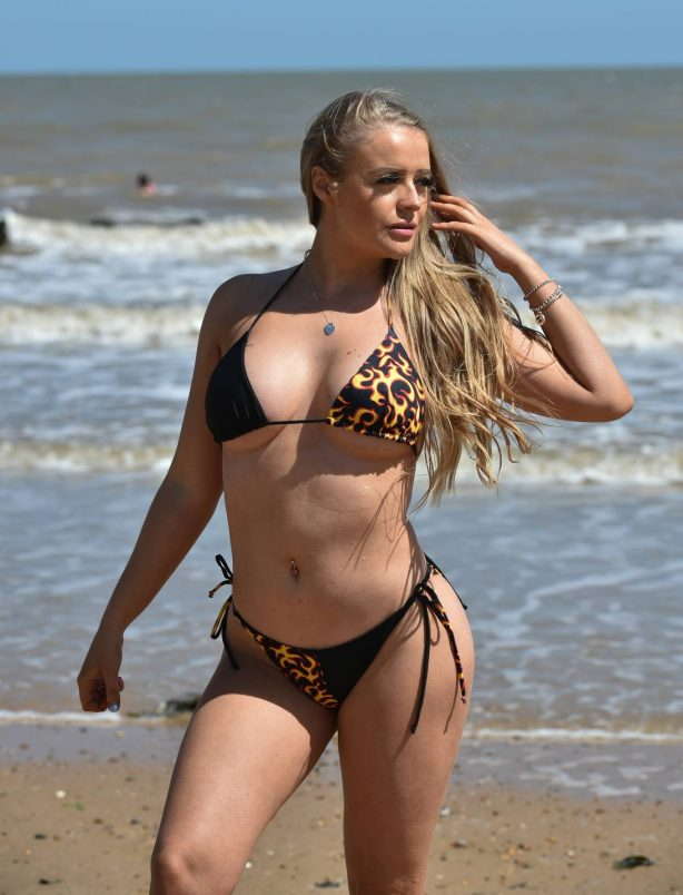 Megan Clark in Bikini on the beach in Frinton