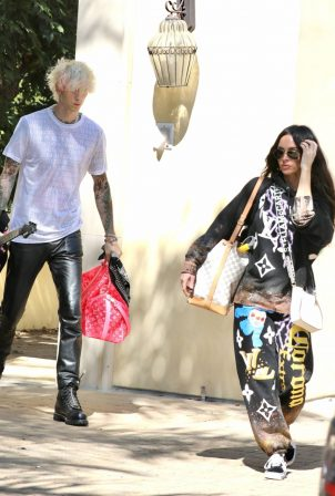 Megan Fox and Machine Gun Kelly leaving a house in Los Angeles