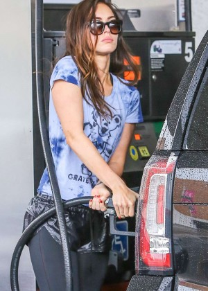 Megan Fox in Tights at a gas station in Beverly Hills