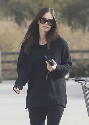 Megan Fox in Black outfit Shopping in Malibu