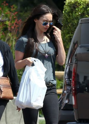 Megan Fox in Black Ripped Jeans Shopping in Malibu
