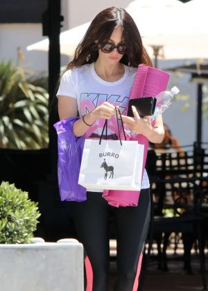 Megan Fox in leggings leaving a yoga class in Malibu