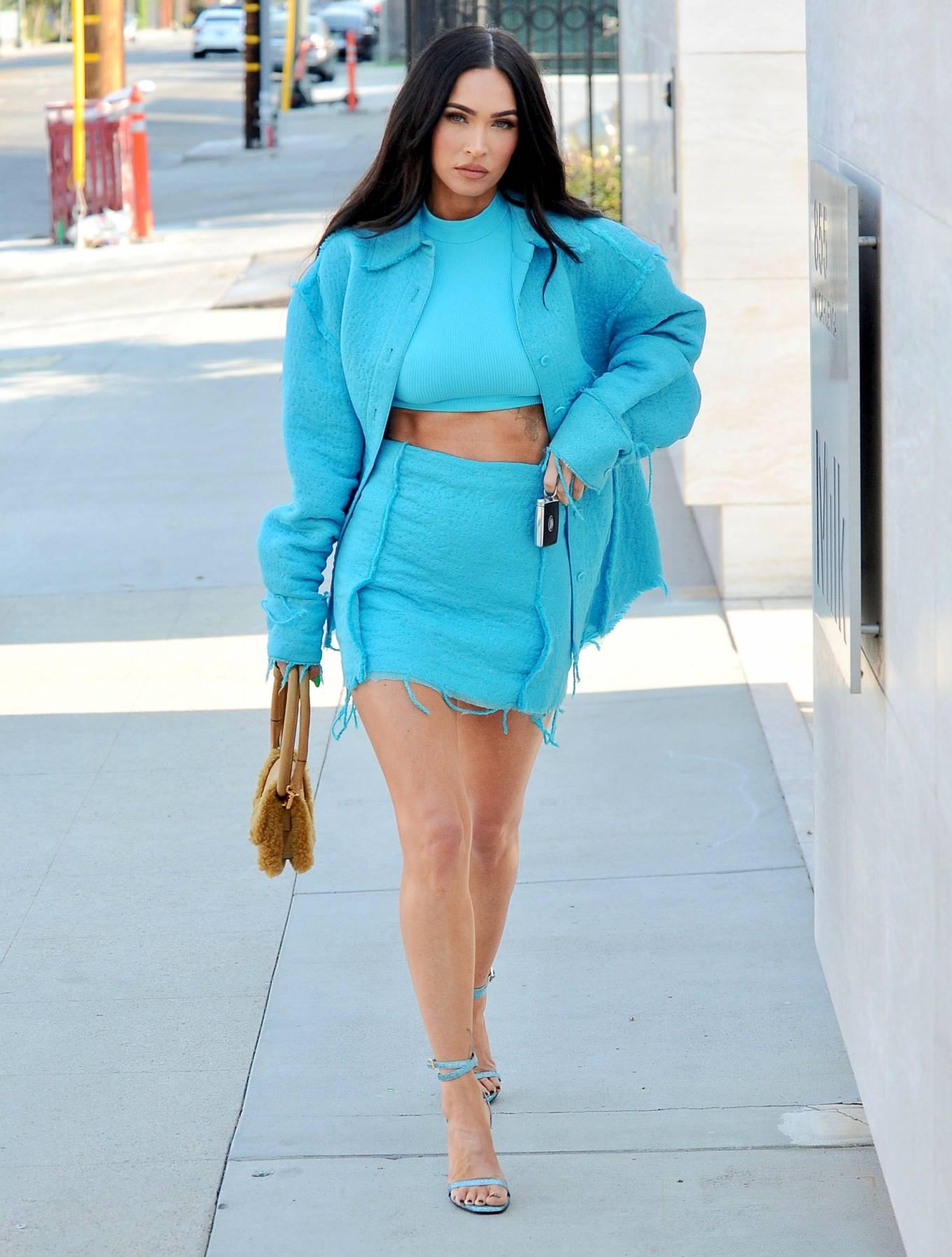 Megan Fox - In light blue Arrives at Milk Studios in Los Angeles