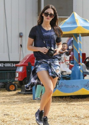 Megan Fox in Shorts at a pumpkin patch in Sherman Oaks
