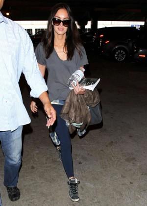 Megan Fox in Leggings at LAX Airport in LA