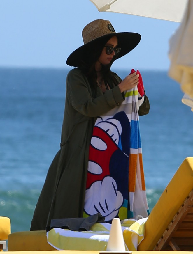 Megan Fox on the beach in Malibu