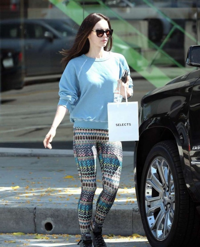 Megan Fox in Leggings Shopping in Beverly Hills