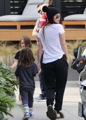 Megan Fox with her family at Burger Fi restaurant in Malibu