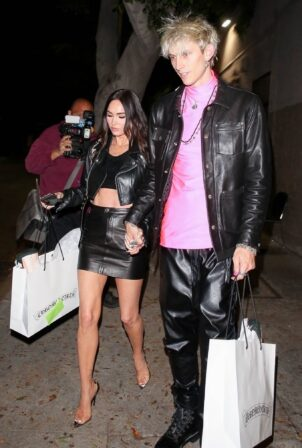 Megan Fox - With MGK in black leather at Chrome Hearts in Hollywood