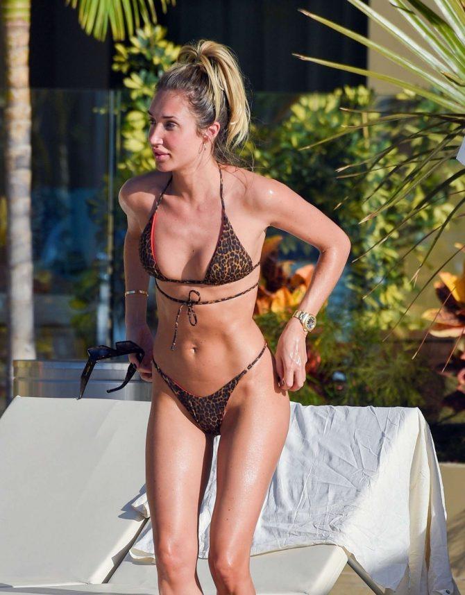 Megan McKenna in Bikini on the pool in Tenerife