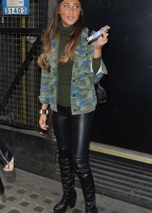 Megan Mckenna in Leather out in London