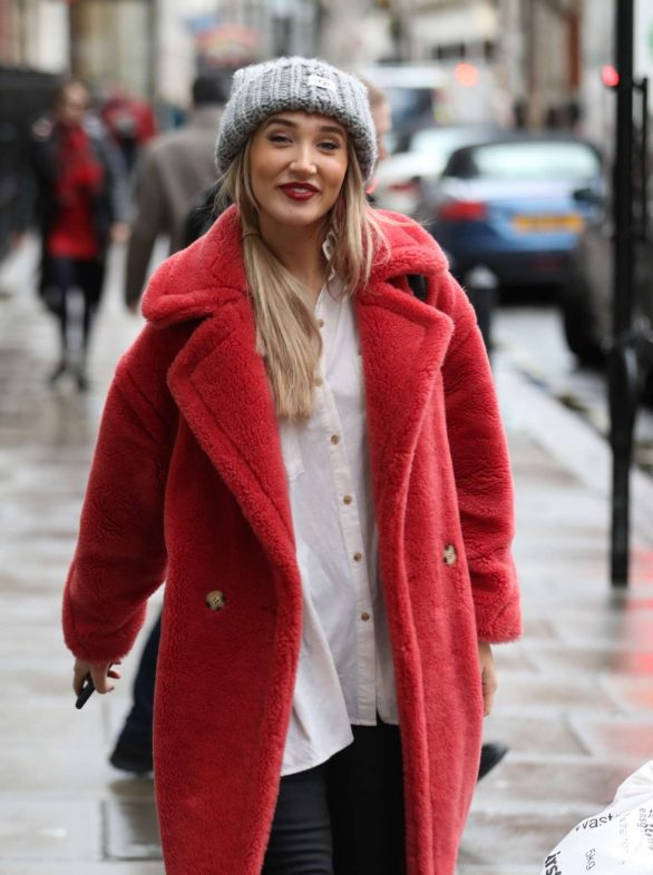 Megan McKenna in Red Coat - Exits Kiss FM radio in London