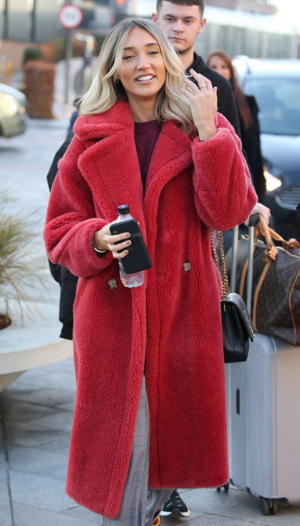 Megan McKenna in Red Fluffy Coat - Outside the London Studios