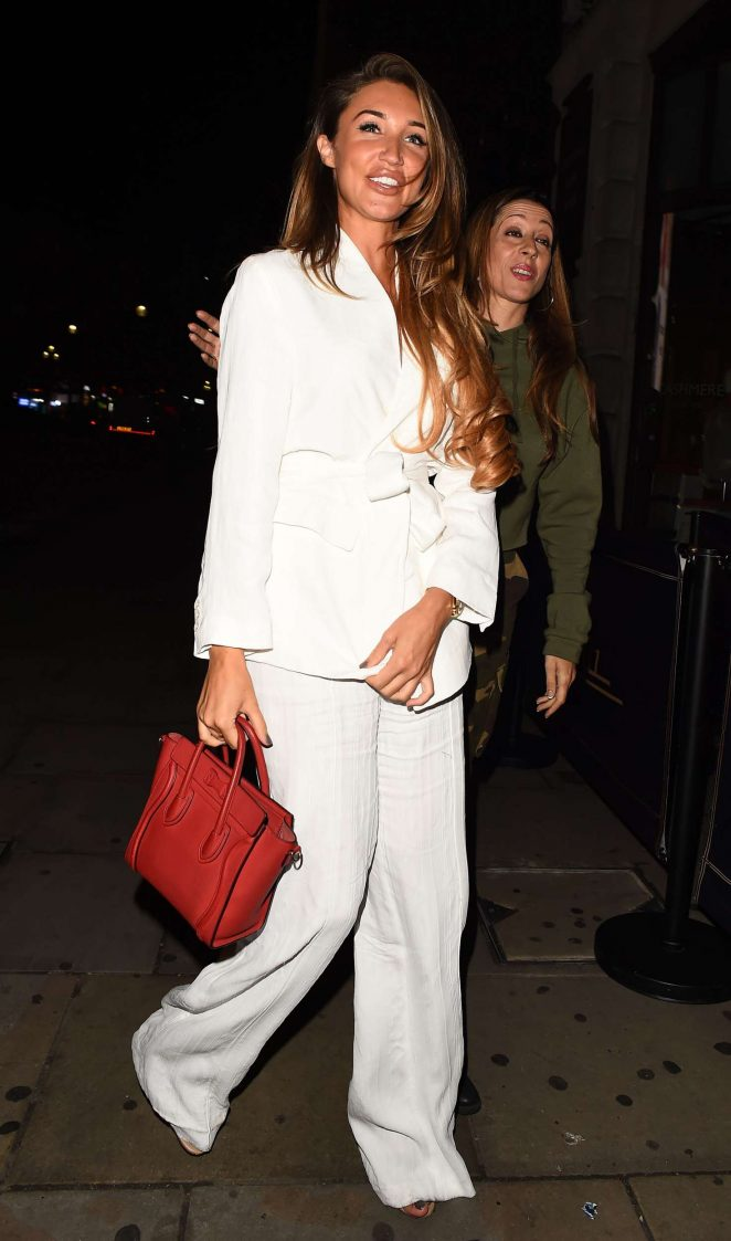 Megan McKenna in White Suit - Night Out in London