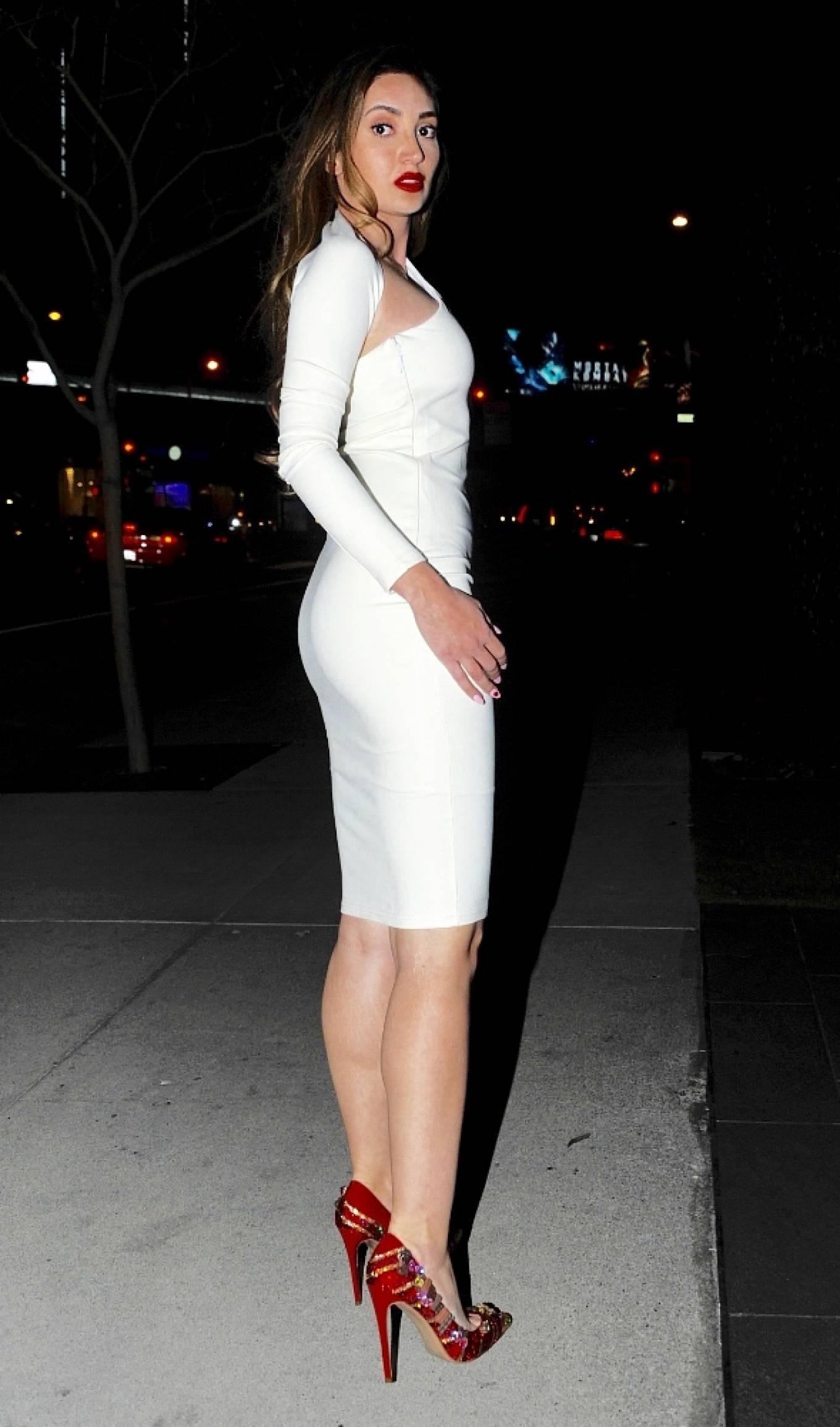 Megan Pormer 2021 : Megan Pormer – In white tight dress going to Nusr-Et Steakhouse in Beverly Hills-02