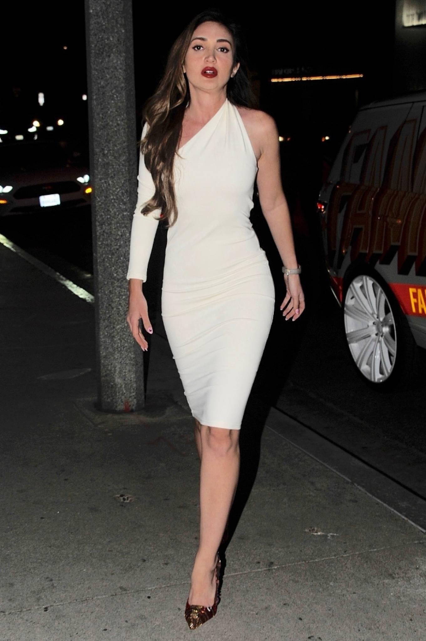 Megan Pormer 2021 : Megan Pormer – In white tight dress going to Nusr-Et Steakhouse in Beverly Hills-04