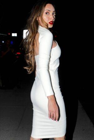 Megan Pormer - In white tight dress going to Nusr-Et Steakhouse in Beverly Hills