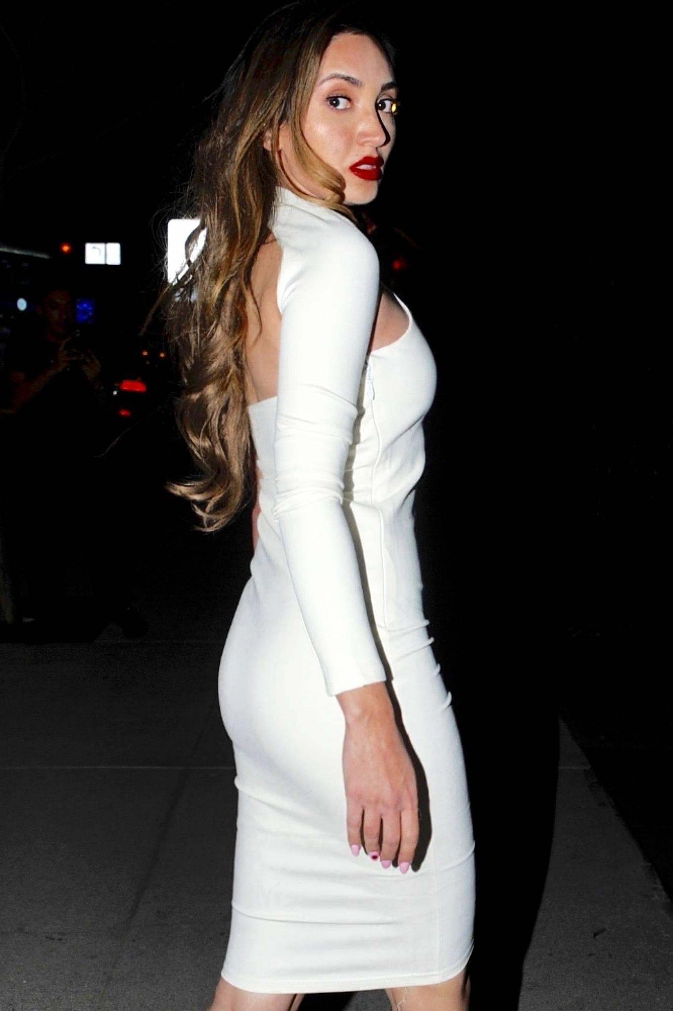 Megan Pormer 2021 : Megan Pormer – In white tight dress going to Nusr-Et Steakhouse in Beverly Hills-07