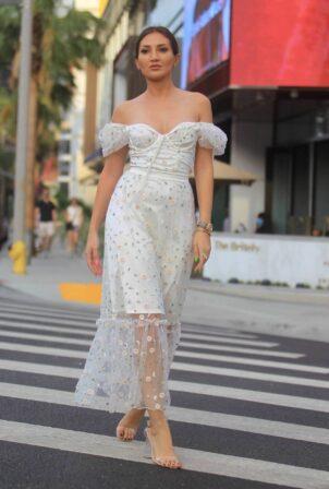 Megan Pormer - Looks cute in white summer dress in Los Angeles