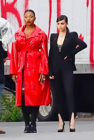 Megan Thee Stallion and Sofia Carson - Photoshoot candids for Revlon in New York