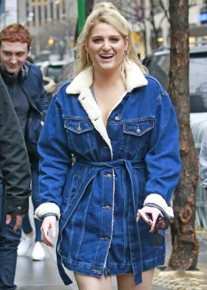 Meghan Trainor in Denim Robe Jacket out in New York City