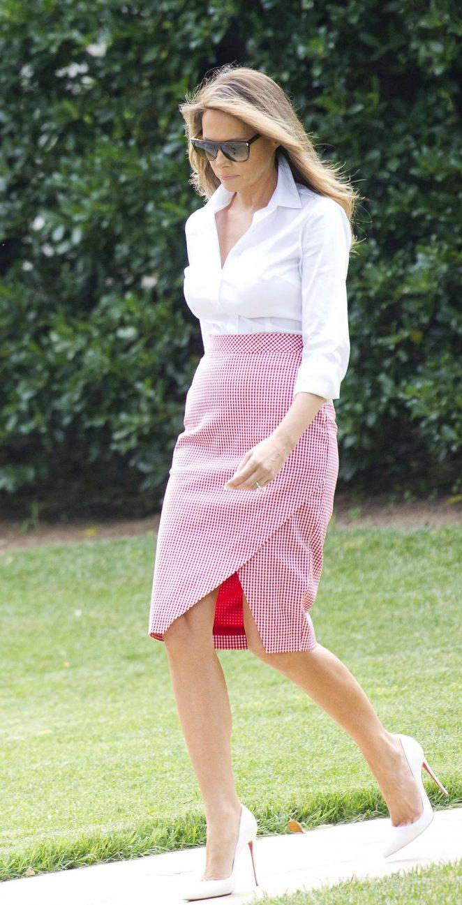 Melania Trump departs the White House in Washington