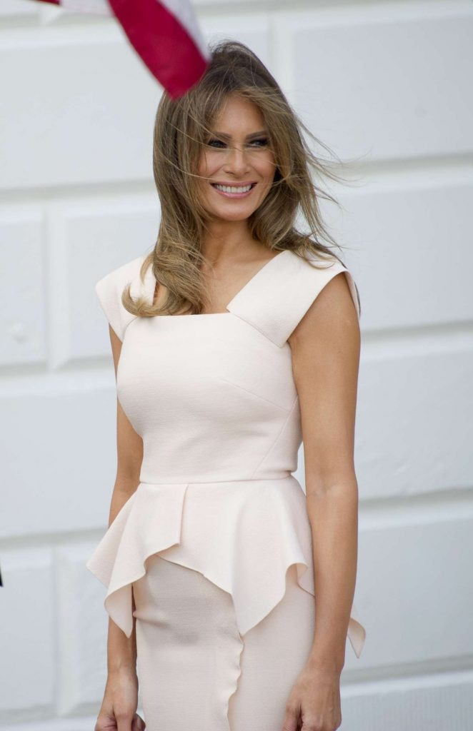 Melania Trump walks out of the South Portico in Washington