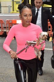 Melanie Brown - Arriving with her dog at BBC Radio 2 in London