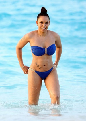 Melanie Brown in Blue Bikini in Turks & Caicos