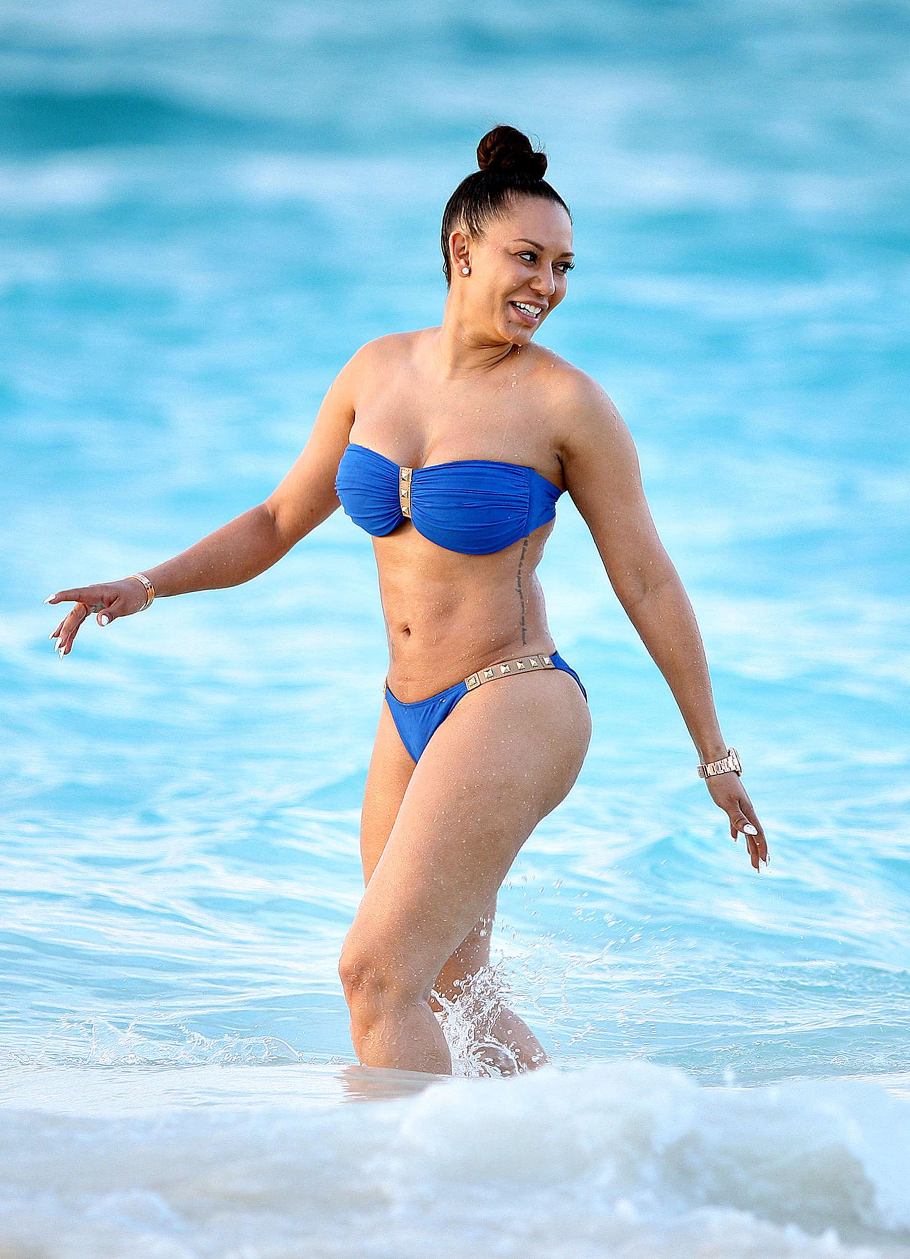 melanie brown in blue bikini -52