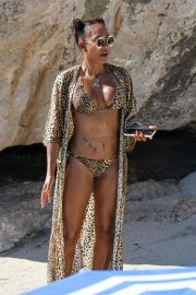 Melanie Brown in Animal Print Bikini in Capri