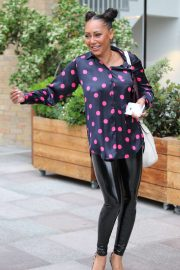 Melanie Brown in Black PVC Pants - Outside the London Studios