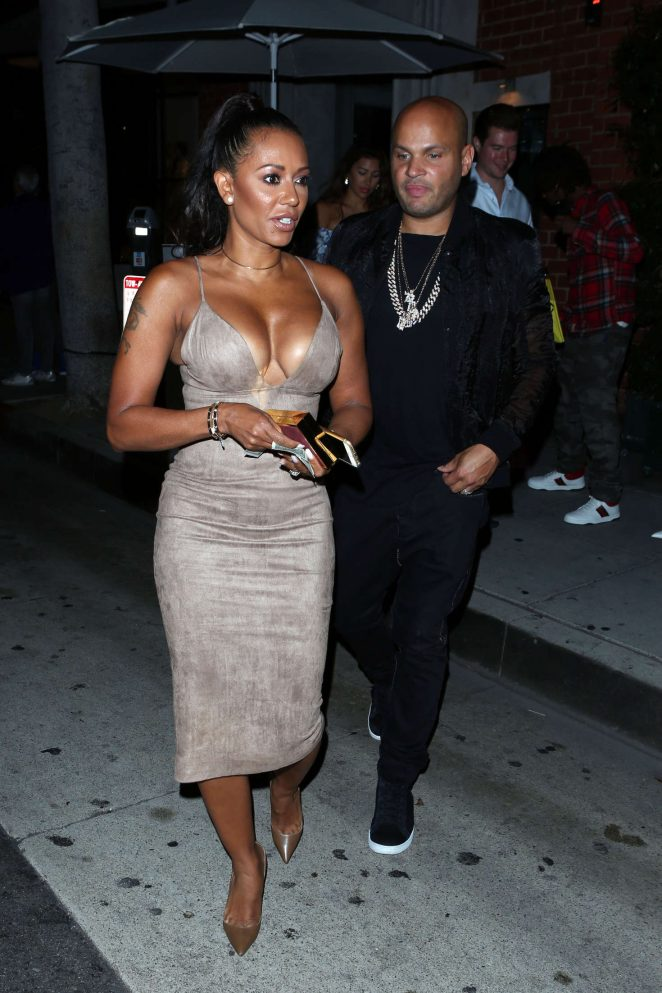 Melanie Brown in Tight Dress at Mr Chow in Los Angeles