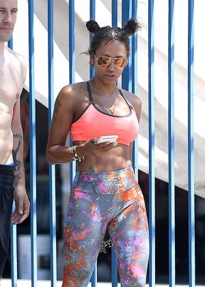 Melanie Brown in Tights and Sports Bra in Los Angeles