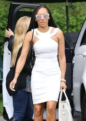 Melanie Brown in White Dress Out in Beverly Hills