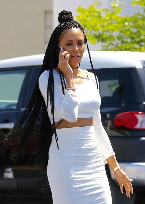 Melanie Brown in White Tight Dress at a Rite Aid in Beverly Hills