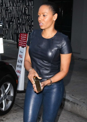 Melanie Brown in Leather Leaving Her Hotel in Beverly Hills