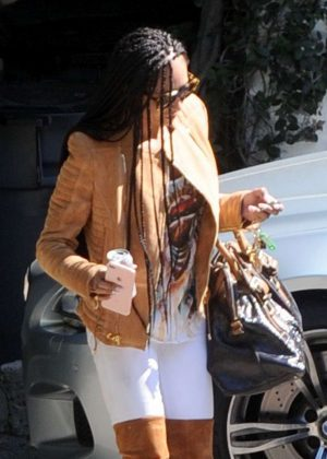 Melanie Brown left her lawyer's office in West Hollywood