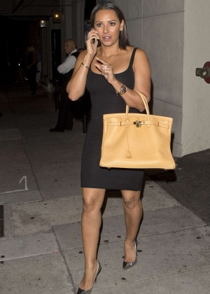 Melanie Brown in Black Mini Dress Out in LA