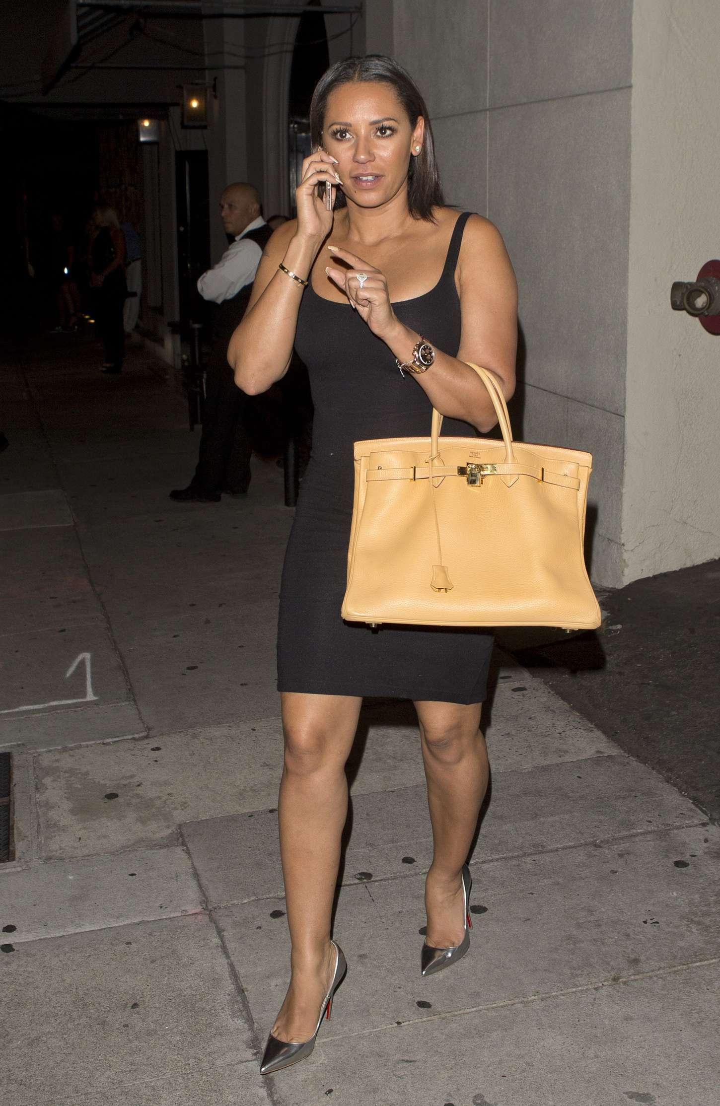 Melanie Brown in Black Mini Dress Out in LA