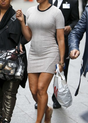 Melanie Brown in Tight Mini Dress Shopping in NY