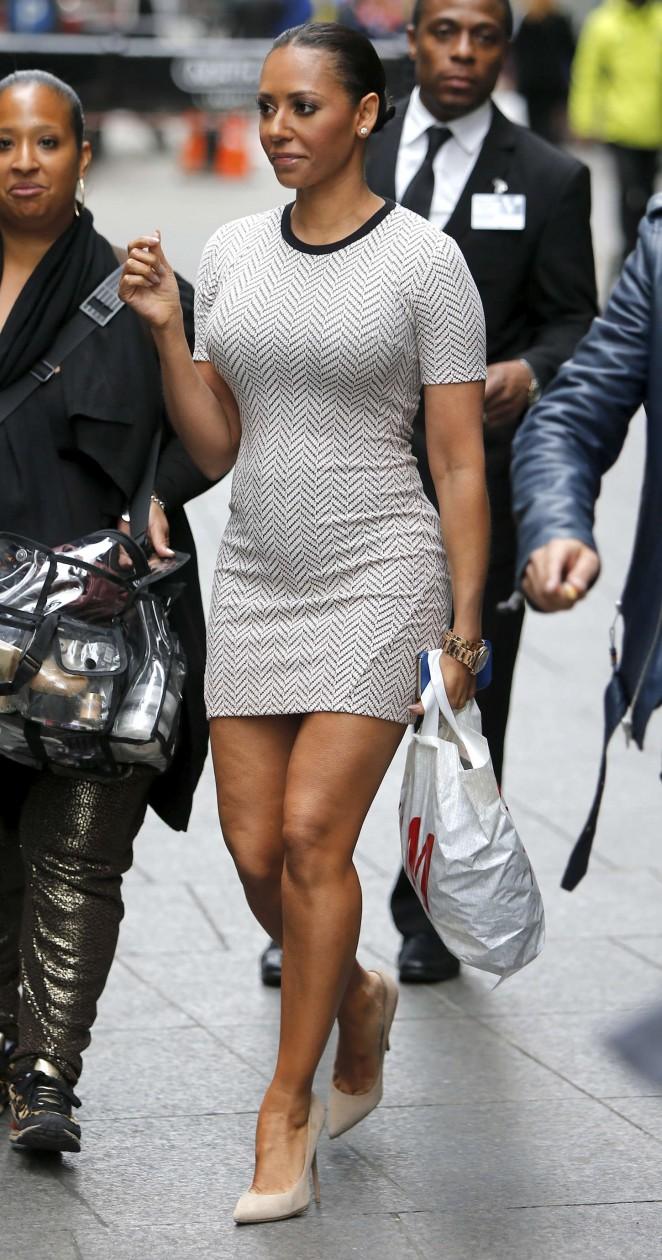 Melanie Brown in Tight Mini Dress Shopping in NY