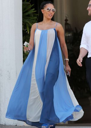 Melanie Brown - Wearing a white and blue summer dress in Los Angeles