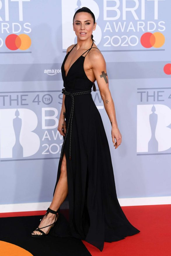 Melanie Chisholm - In Black Open Back Maxi Dress at The BRIT Awards 2020 in London