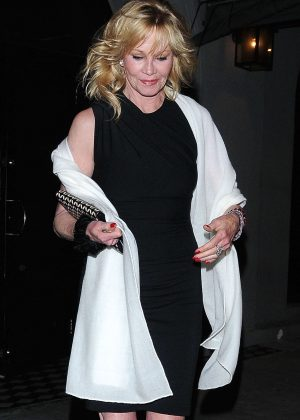 Melanie Griffith in Mini Dress at Craig's in West Hollywood