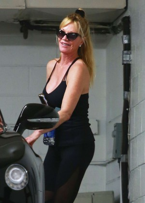 Melanie Griffith in Tights Leaving a gym in Beverly Hills