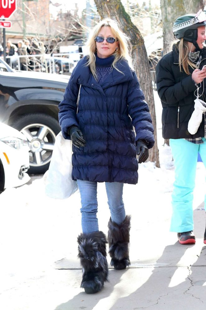 Melanie Griffith out shopping while on vacation in Aspen