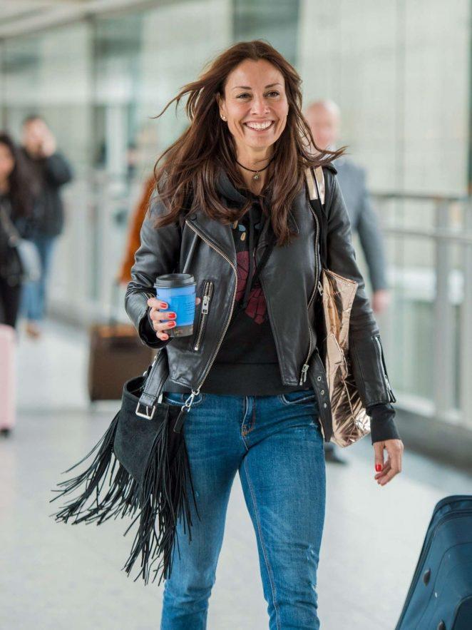 Melanie Sykes - Arrives at Heathrow Airport in London
